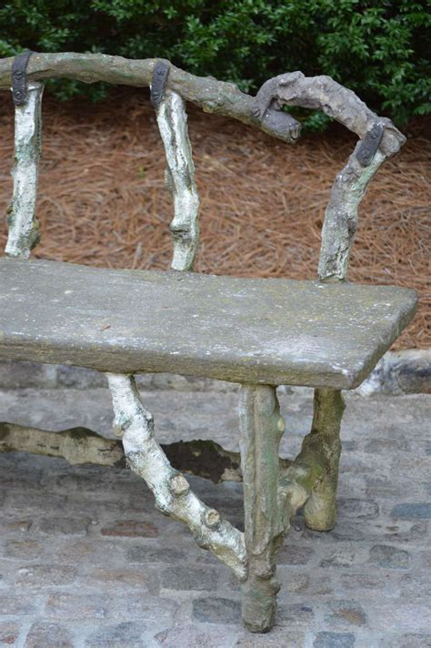 faux stone garden bench antique french stone faux bois bench at 1stdibs