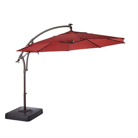 Hton Bay 11 Ft Led Round Offset Patio Umbrella In Red Home Depot Patio Umbrellas