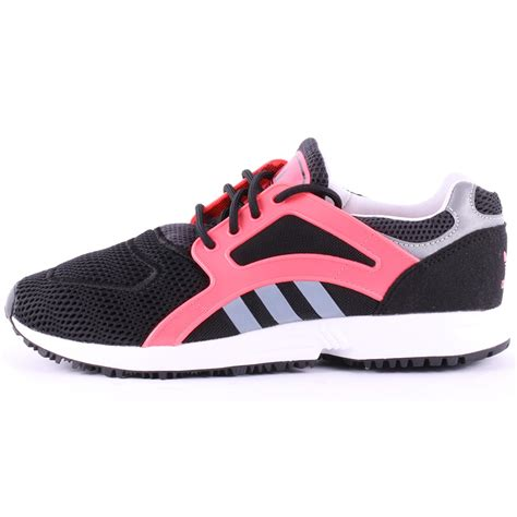 adidas racer lite w womens synthetic mesh trainers in black pink