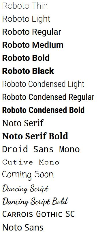 material design font roboto fonts valid values for android fontfamily and what they