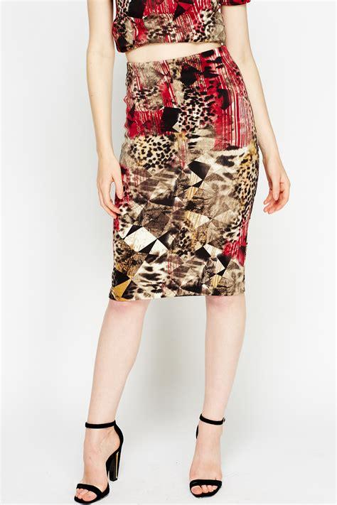 geo leopard print pencil skirt just 163 5