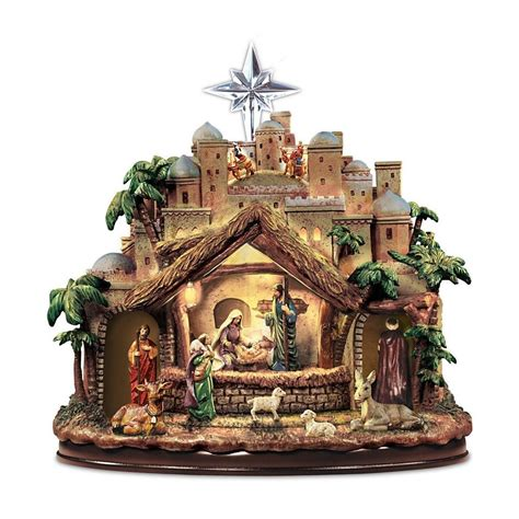thomas kinkade lighted musical christmas nativity holiday
