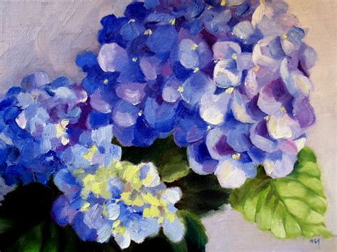 acrylic painting hydrangea nel s everyday painting from a real hydrangea sold