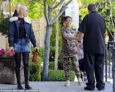 den skirts for 47 yr old gwen stefani dons a denim mini as she takes sons to church