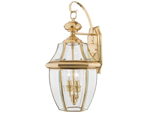 Quoizel Landscape Lighting Quoizel Newbury Polished Brass Two Light Outdoor Wall