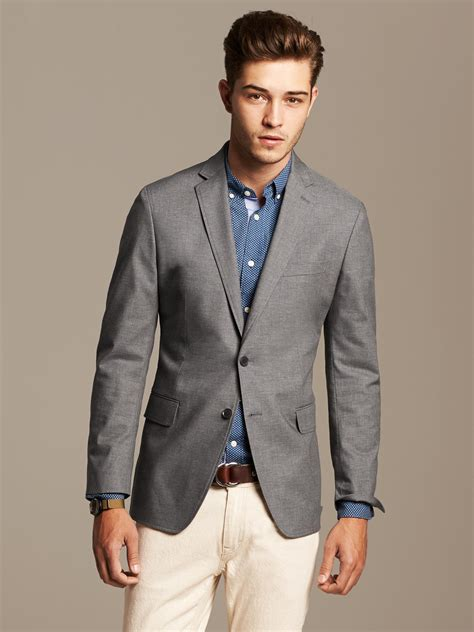 grey blazer banana republic tailored fit grey cotton blazer in gray