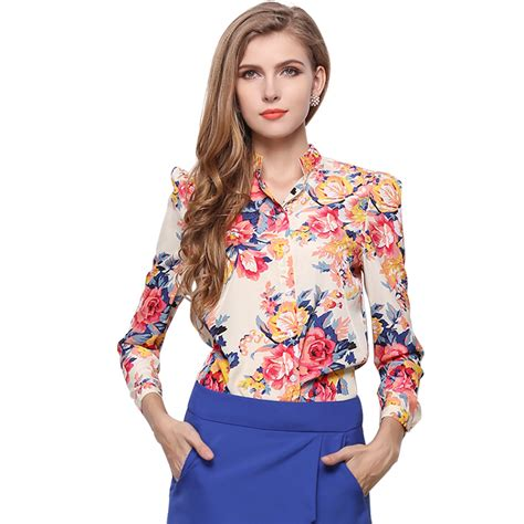 Pretty Printed Blouses by Vintage Flower Print Chiffon Blouses 2016 Fashion