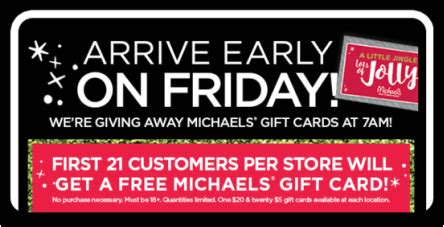 Michaels Gift Card Deal - hot michael s first 21 customers per store will get a free michael s gift card no