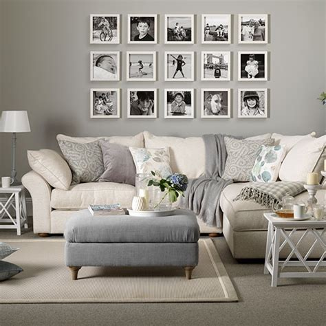 taupe living room ideas grey and taupe living room with photo display decorating