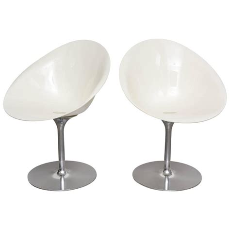 Pair Of White Swivel Chairs Eros Lsl By Kartell With Eros Swivel Chair