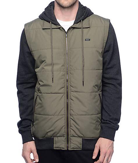 Vest Hoodie Black rvca puffer green black vest hoodie