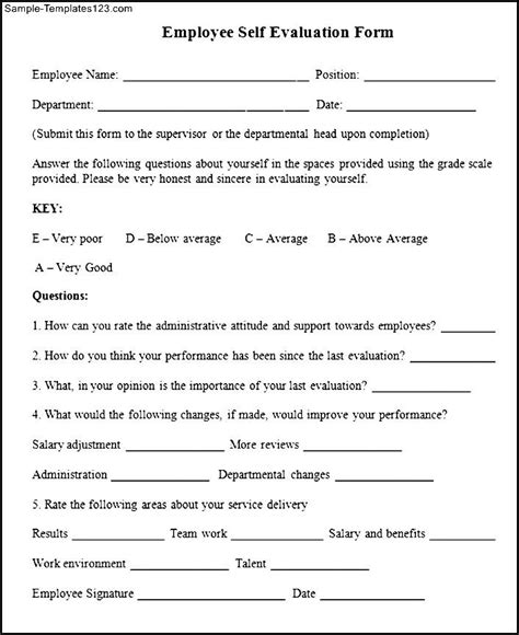 employee self evaluation form template employee self evaluation form sle templates sle