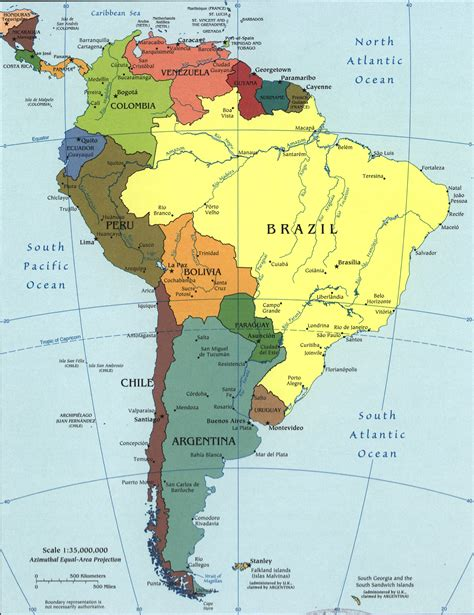 map of the united states and south america map of south america 2005