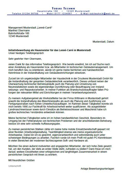 Bewerbung Anschreiben Muster Hausmeister Bewerbung Hausmeister Ungek 252 Ndigt Berufserfahrung