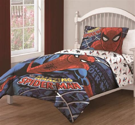 pcs marvel  amazing spiderman spidey webs bedding comforter set  fitted sheet twin size