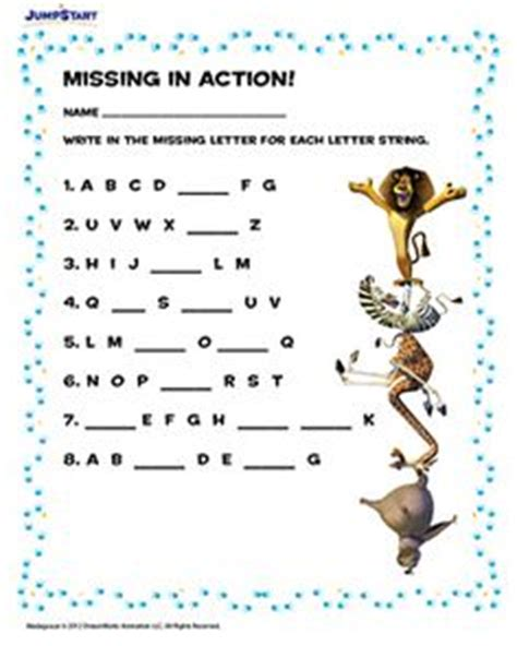 printable missing letters quiz 1000 images about jumpstart s madagascar worksheets on