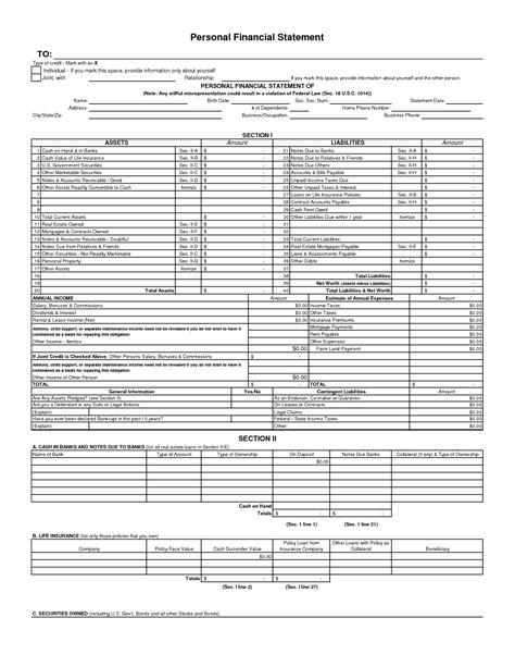 free financial statement template free personal financial statement forms