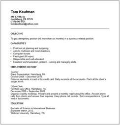 Exle Of Work Resume by Temp Worker Resume Exle Free Templates Collection