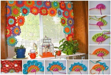 bright  beautiful homemade crochet flower curtain