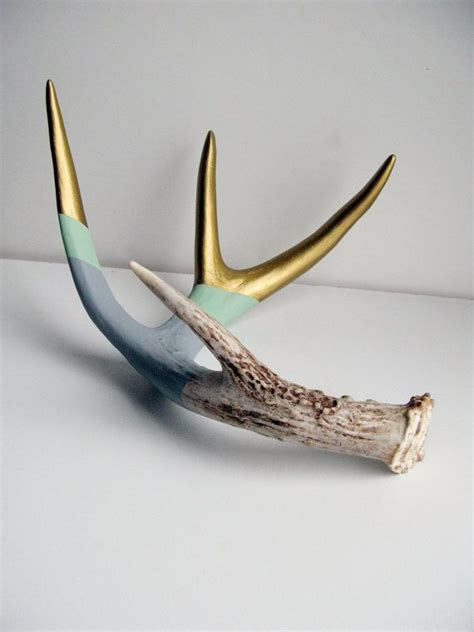 Naturally Shed Antlers by Gold Mint Gray Striped Painted Antler Large Deer