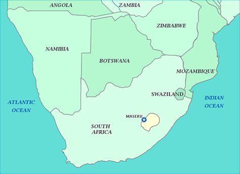 lesotho map lesotho early green
