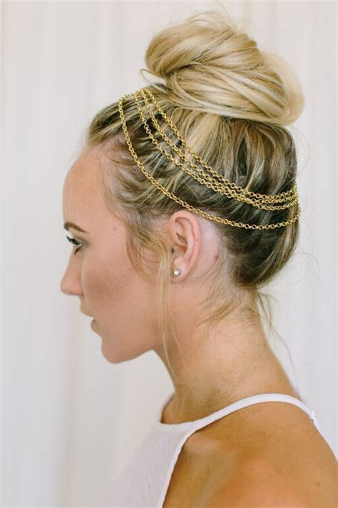 hair layer wraps halo buns and hair chains on pinterest