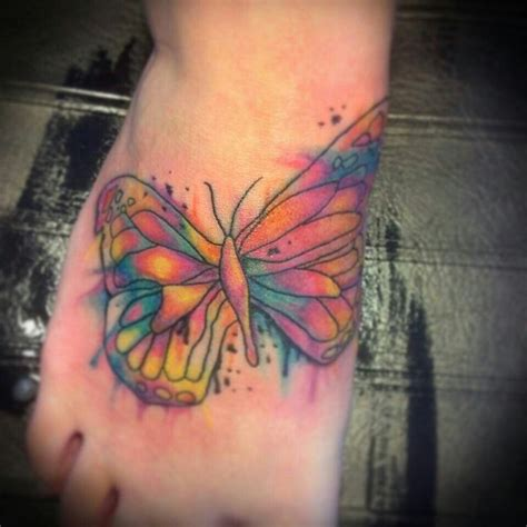 watercolor tattoos foot watercolor butterfly foot portfolio