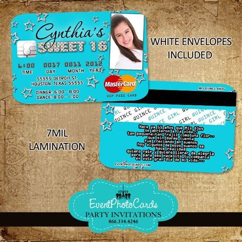 Credit Card Birthday Invitation Template Sweet 16 Credit Card Invitations Mardi Gras Sweet Sixteen P