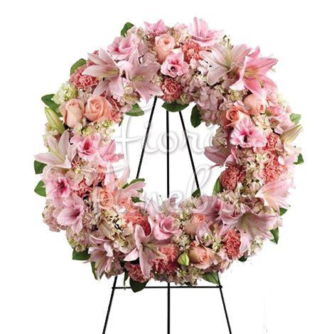 fiori funebri corona funebre di fiori rosa