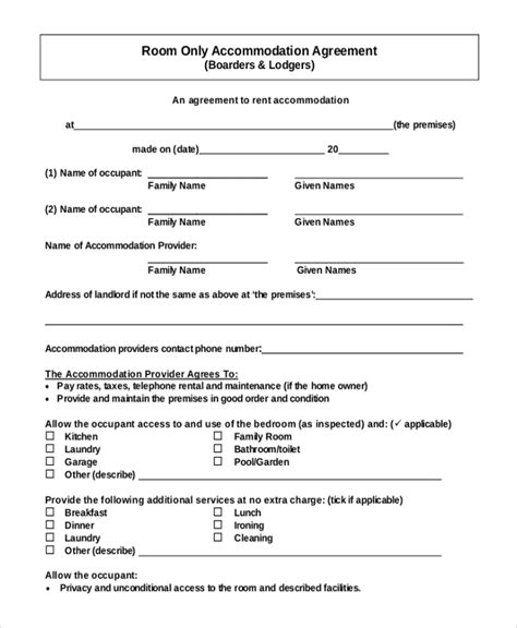 room lease agreement template room rental agreement template 11 free word pdf free