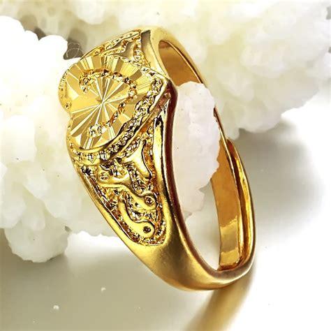 Cincin Gold Plate Alpaka Cincin Lapisan Emas 2 ebay models american jewelry plating 24 carat gold shaped hollow ring opening size