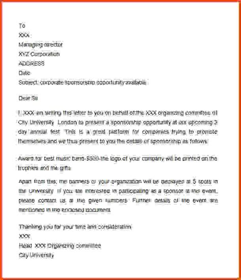 Letter For Sponsorship Sle Sle Sponsorship Letter 100 Event Sponsorship Request Letter Sle 100 Event Sponsorship Request