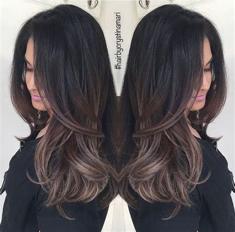 medium ash brown ombre hair color elle hairstyles dark brown hair with ash brown balayage all things