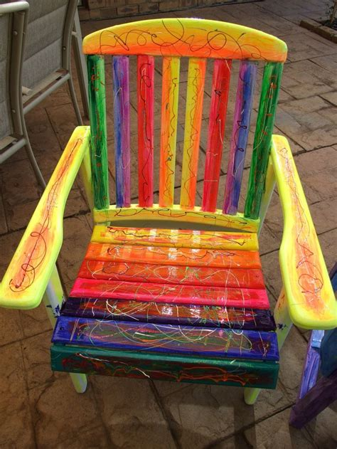 rainbow funky vibrant chair ooak uniquely painted