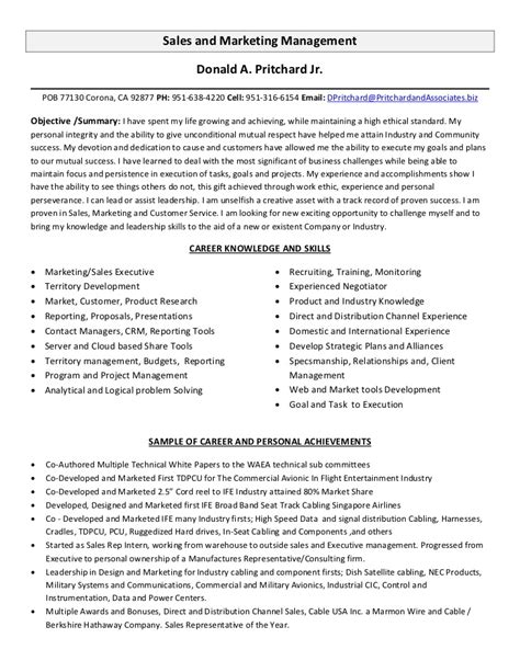 resume sle marketing manager sales and marketing management resume