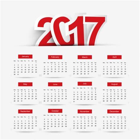 X Calendario Simple 2017 Calendar Vector Free