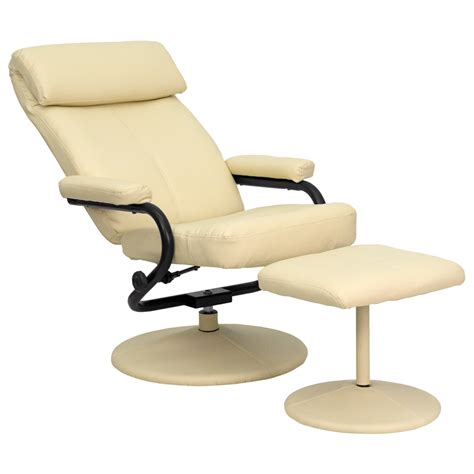 Modern Leather Recliner With Ottoman Contemporary Leather Recliner And Ottoman With Leather Wrapped Base Bt 7863 Gg