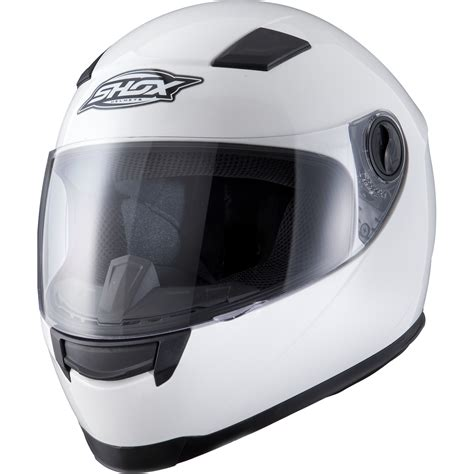 white motorbike shox sniper solid white motorcycle helmet scooter full