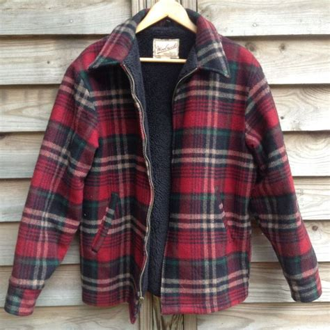 mens outdoor clothing made in usa vintage woolrich wool jacket plaid lined sz m made in usa