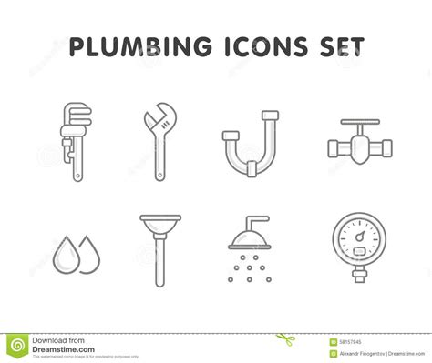 Plumbing Set by Plumbing Set Icons In Monochrome Style Big Collection Of