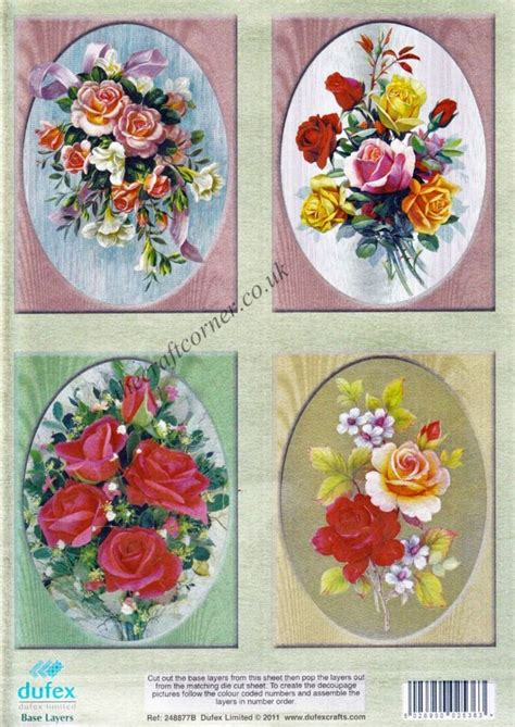 wedding bouquets die cut 3d decoupage sheet from dufex