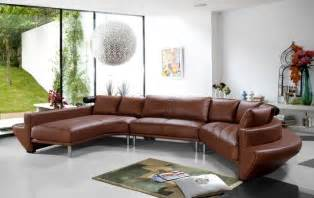Brown Leather Sofa In Living Room Contemporary Curved Sectional Sofa In Brown Leather Modern Living Room Other By Eurolux