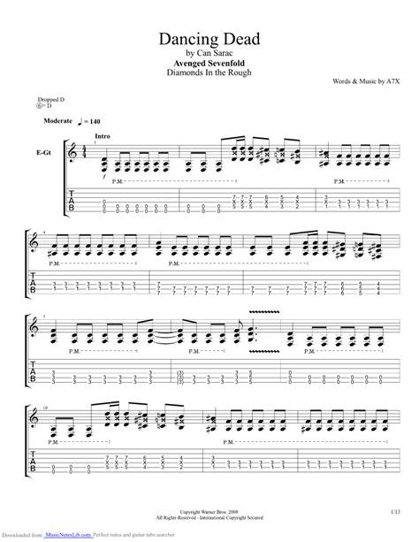 Dancing Dead guitar pro tab by Avenged Sevenfold