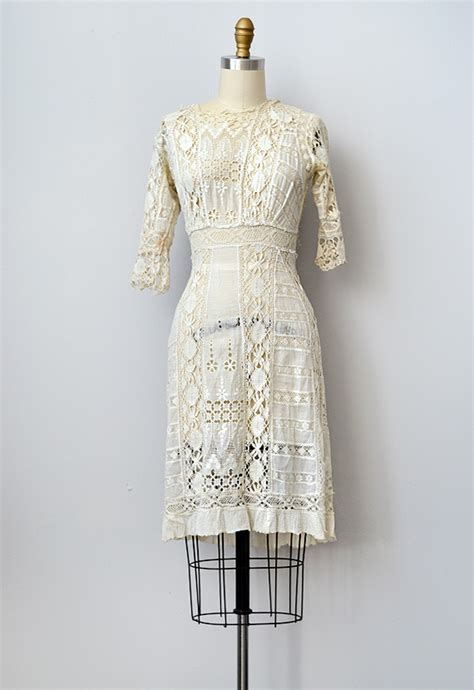 antique 1910s edwardian lace crochet dress promised youth