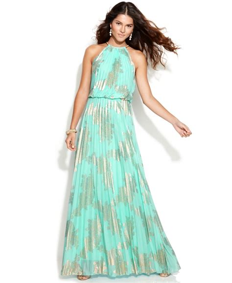 Sleeveless Halter Pleated Dress lyst xscape sleeveless pleated halter gown in blue