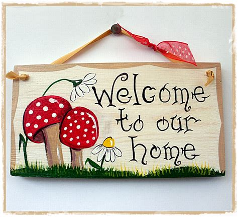 handcrafted by picto welcome plaques toadstools