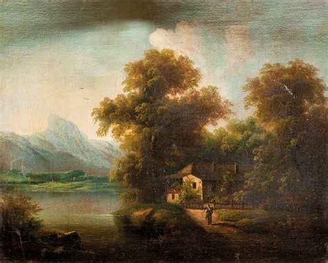 paesaggi corso completo di scuola dell italia settentrionale coppia di paesaggi boschivi con caseggiati e figure presso un