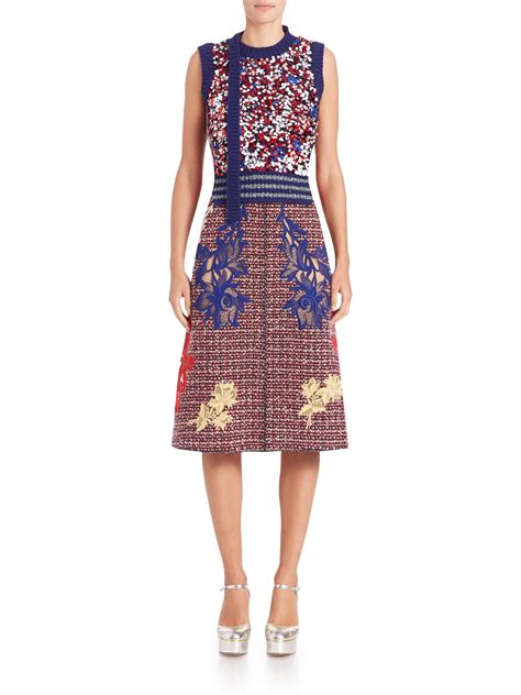 marc embroidered tweed a line skirt in lyst