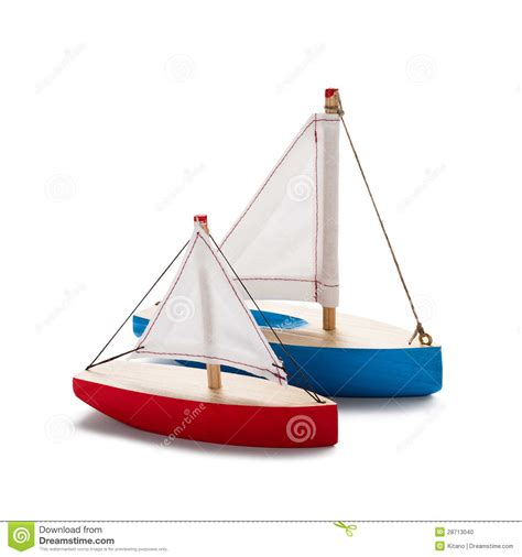 Red And Blue Toy Sailboat Stock Photo   Image: 28713040