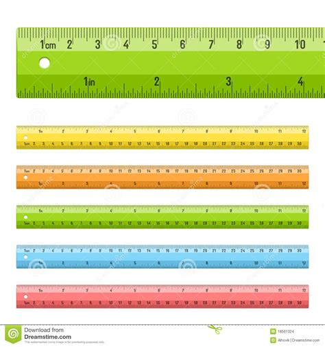rulers  centimeters  inches stock vector